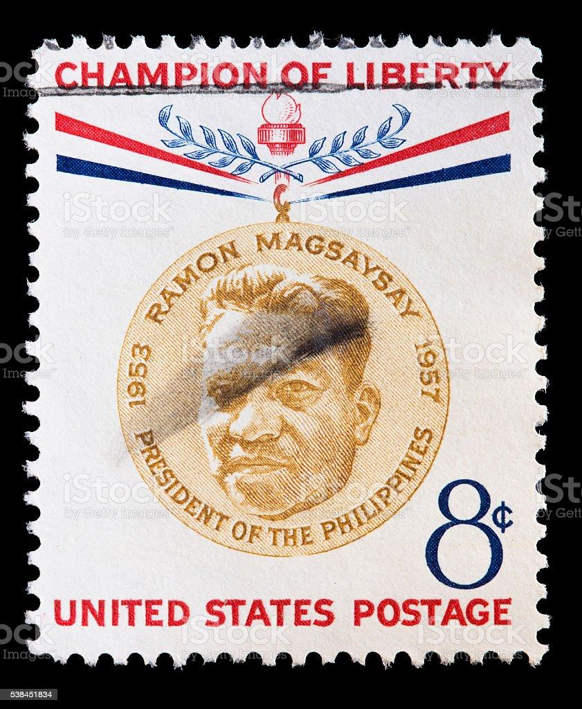 United States used postage stamp showing portrait of Ramon Magsaysay stock photo