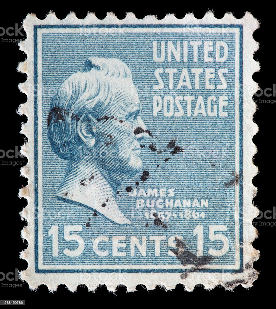 United States used postage stamp showing President James Buchanan stock photo