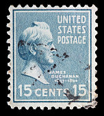 United States used postage stamp showing President James Buchanan