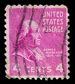 United States used postage stamp showing President James Madison