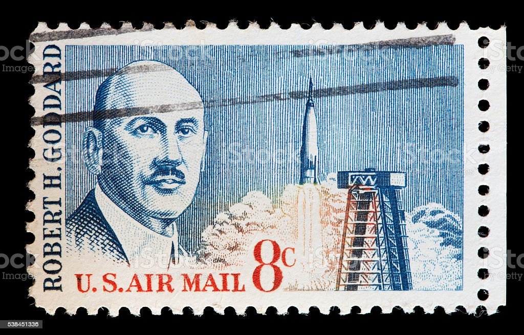 United States used postage stamp showing the engineer Robert Goddard stock photo