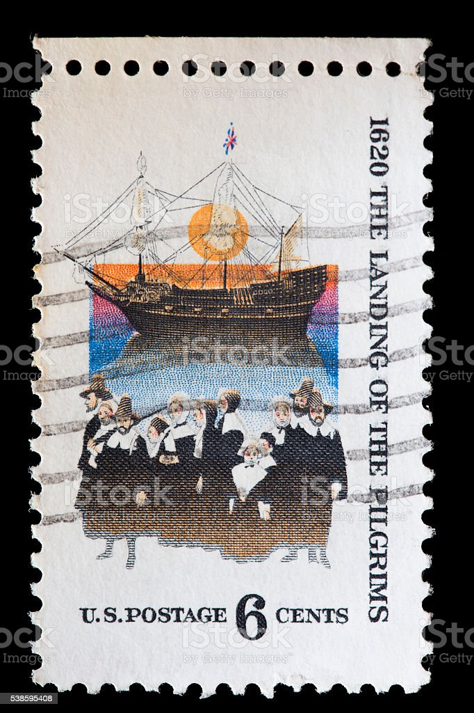 United States used postage stamp showing the Mayflower ship stock photo