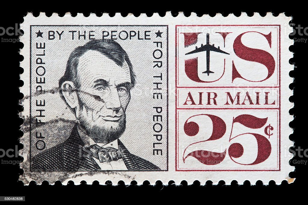United States used postage stamp showing the President Abraham Lincoln stock photo