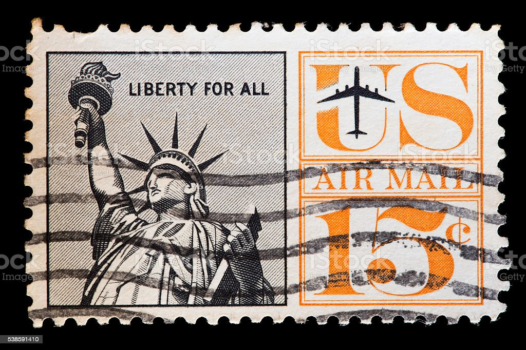United States used postage stamp showing the Statue of Liberty stock photo