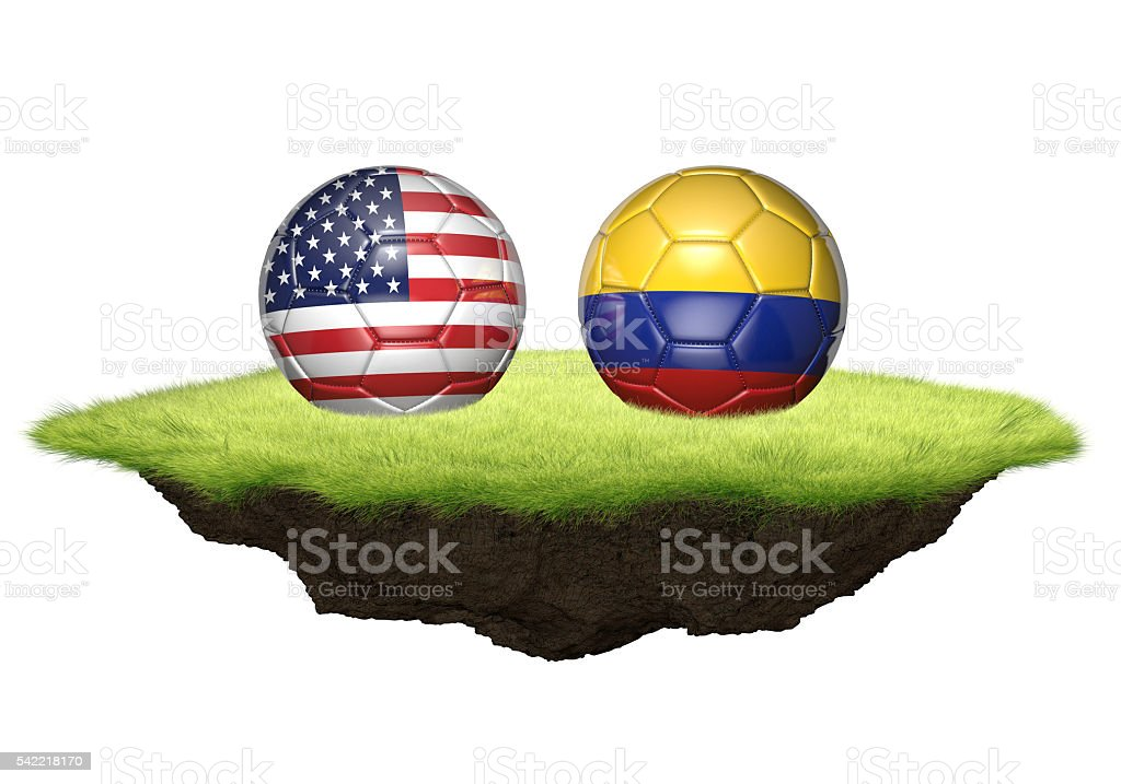 United States vs Colombia team balls for football championship tournament stock photo