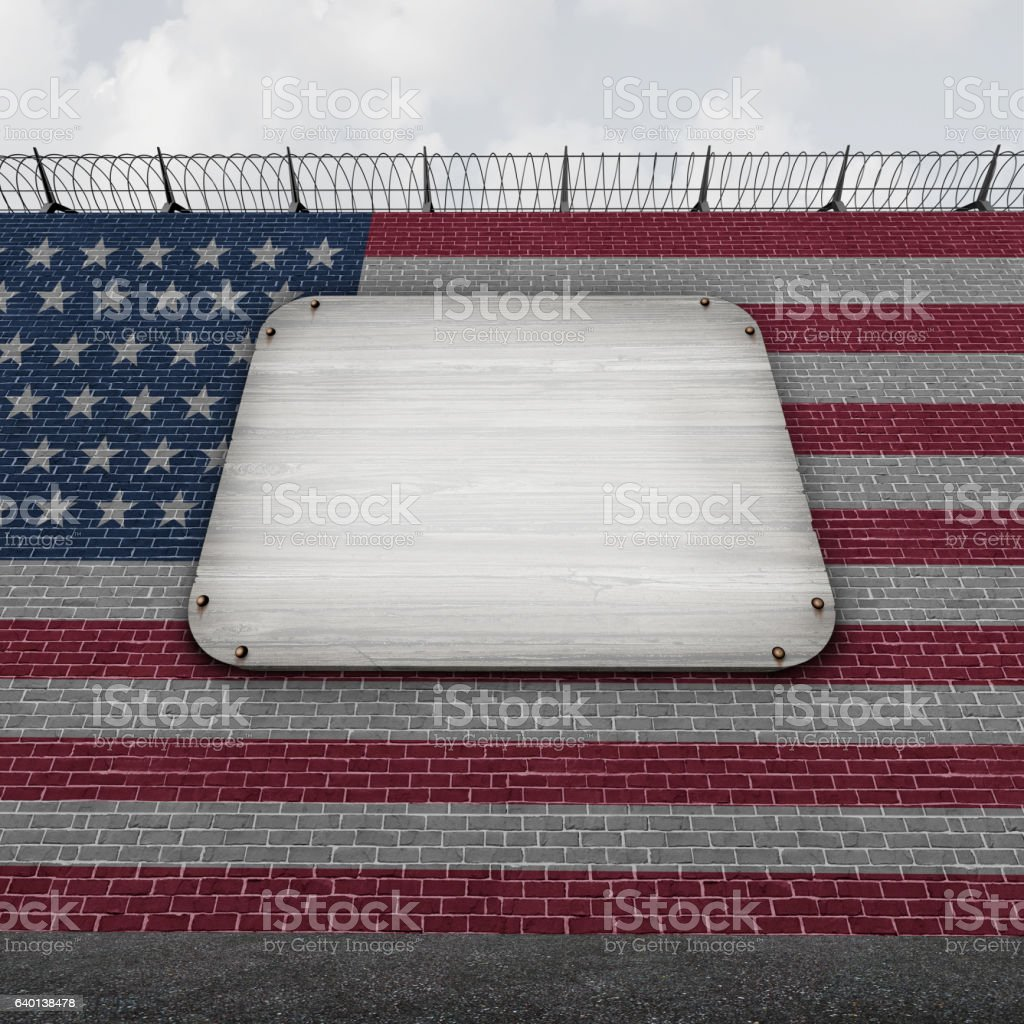 United States Wall Blank Sign stock photo