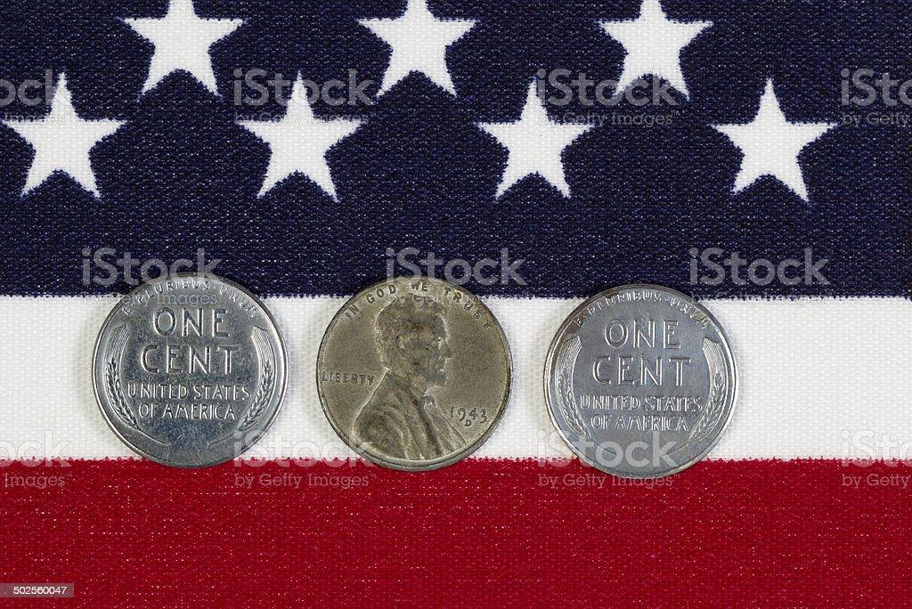 United States World War II Steel Cents stock photo