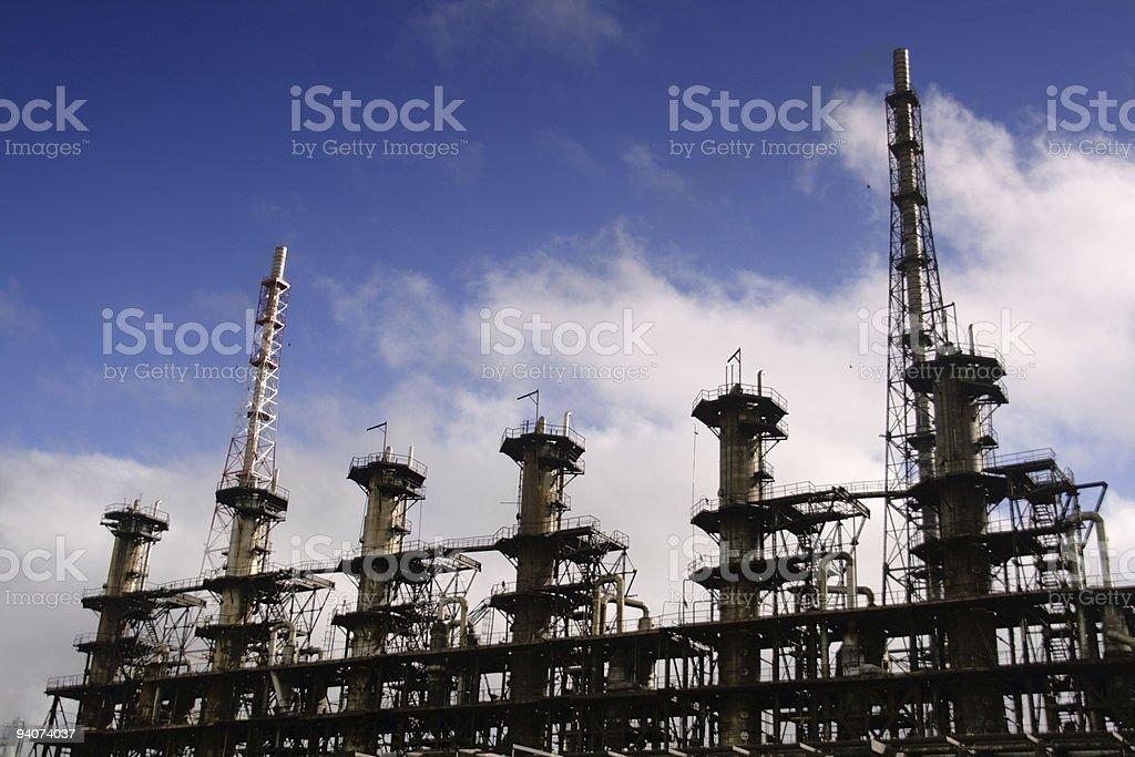 Units for nitric acid production on fertilizer plant stock photo