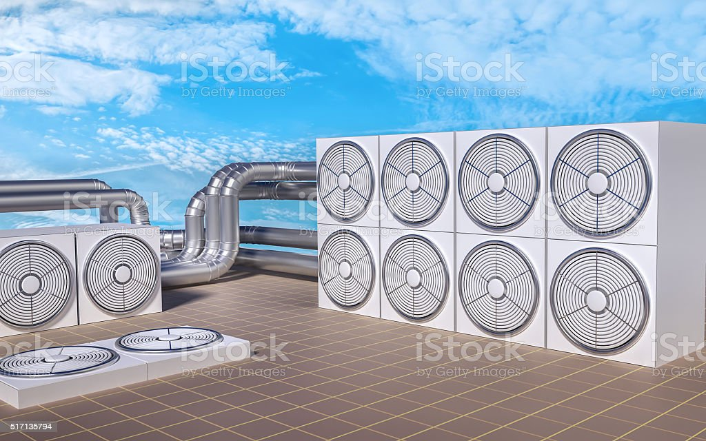 HVAC (Heating, Ventilating, Air Conditioning) units on roof. 3D illustration. stock photo
