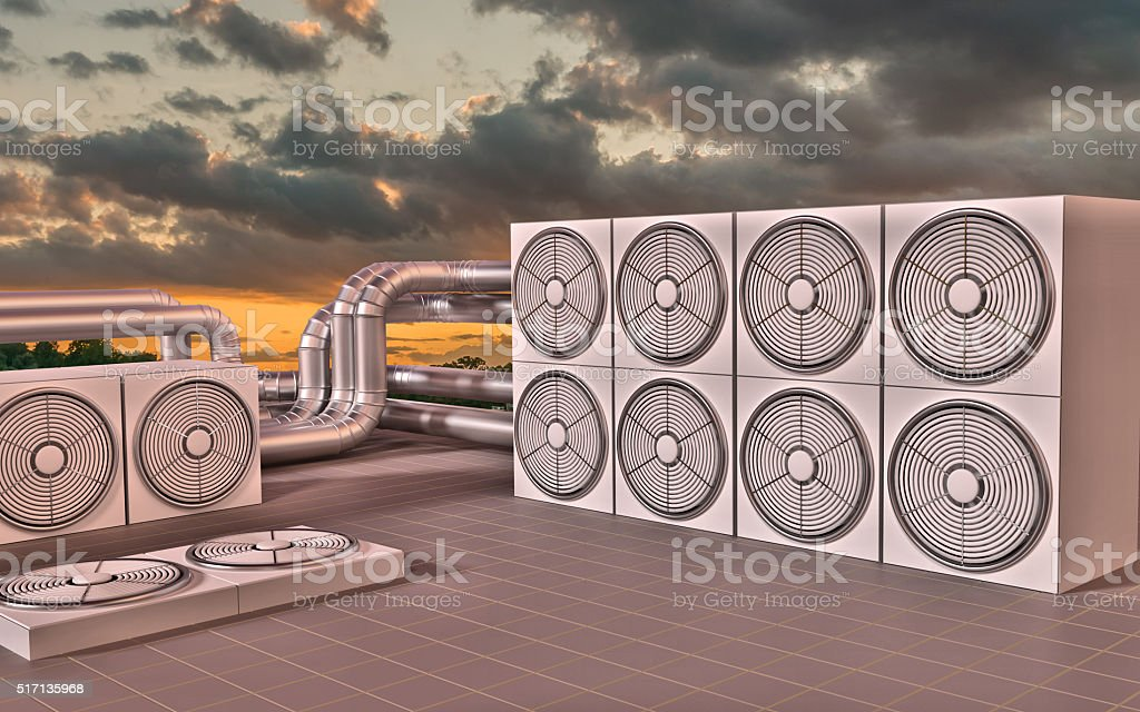 HVAC (Heating, Ventilating, Air Conditioning) units on roof. 3D illustration stock photo