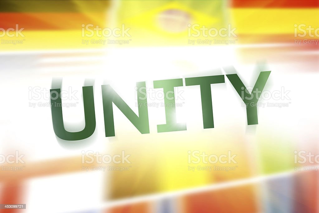 Unity written on abstract flags background royalty-free stock photo
