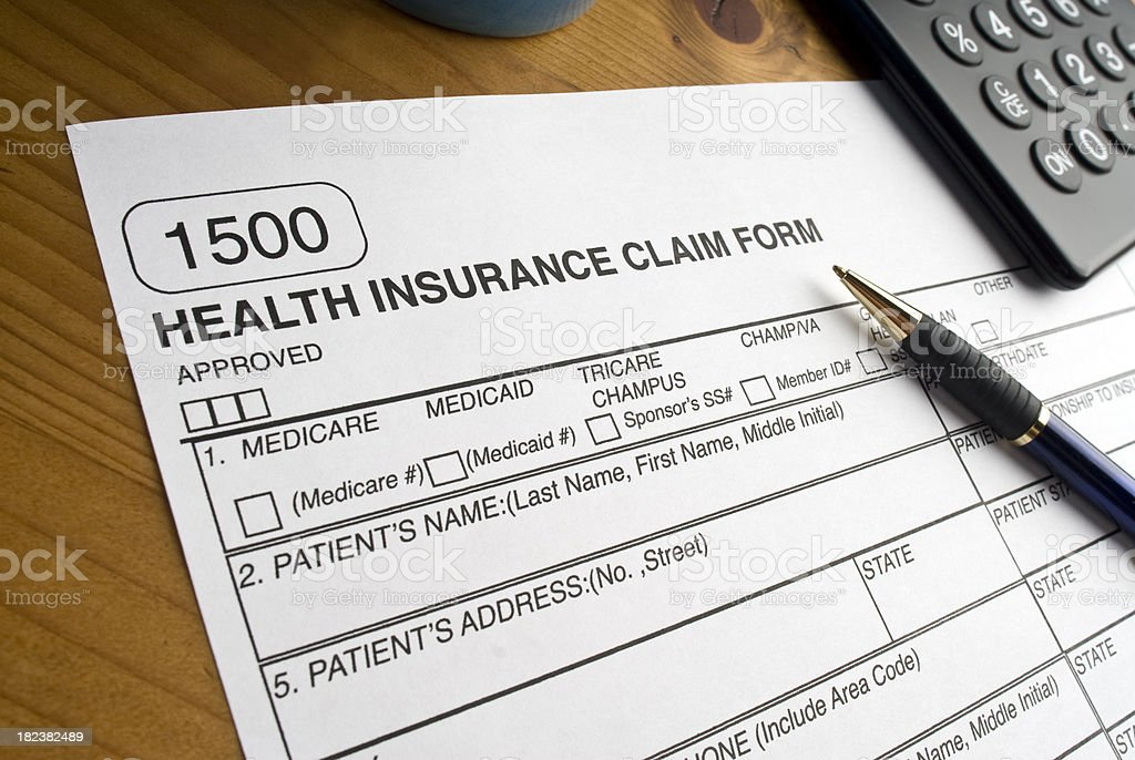 Universal 1500 Health Insurance Claim Form royalty-free stock photo