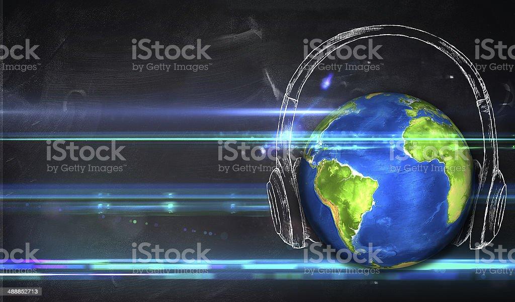 Universal Music Blackboard Background stock photo