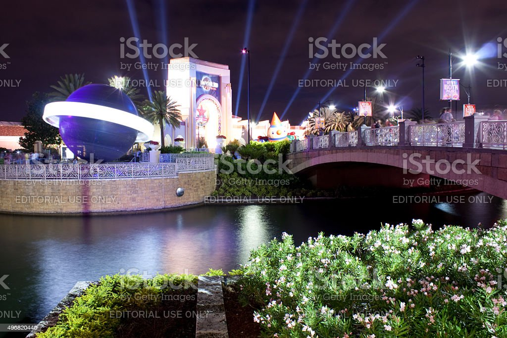 Universal Studios at Night stock photo