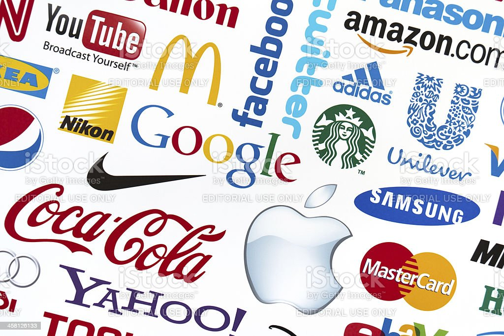 Universally popular brand logotypes stock photo