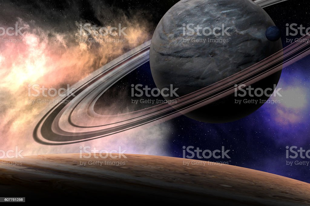 Universe scene with planets. Elements furnished by NASA stock photo