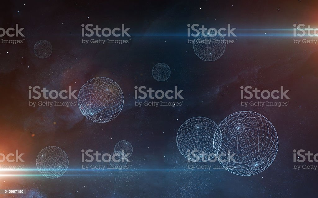 Universe scene with planets, stars and galaxies in outer space stock photo