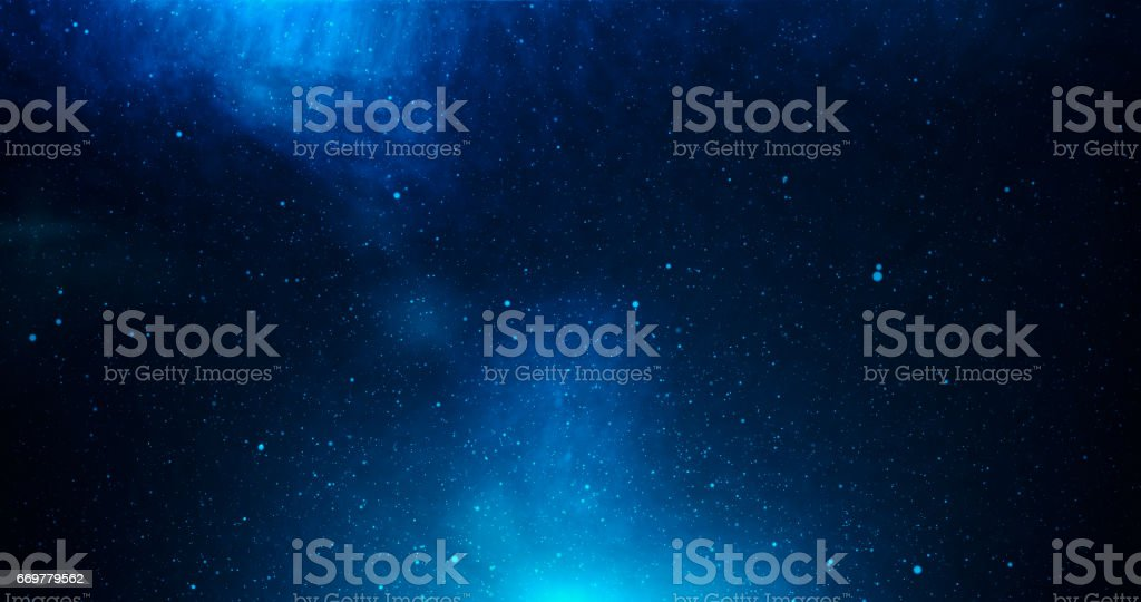 Universe with stars and deep blue dark stock photo