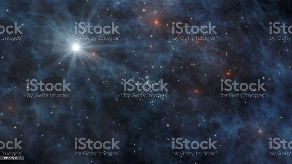 Universe with stars and galaxies in outer space 3D Rendering stock photo