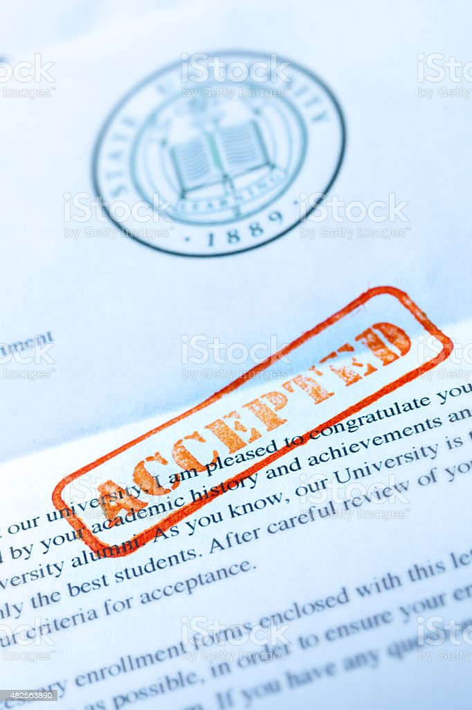 University Application Acceptance Notification Letter with ACCEPTED Stamp stock photo