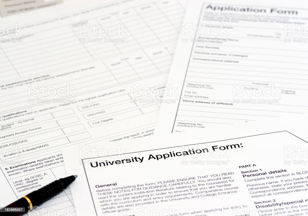 University application forms royalty-free stock photo