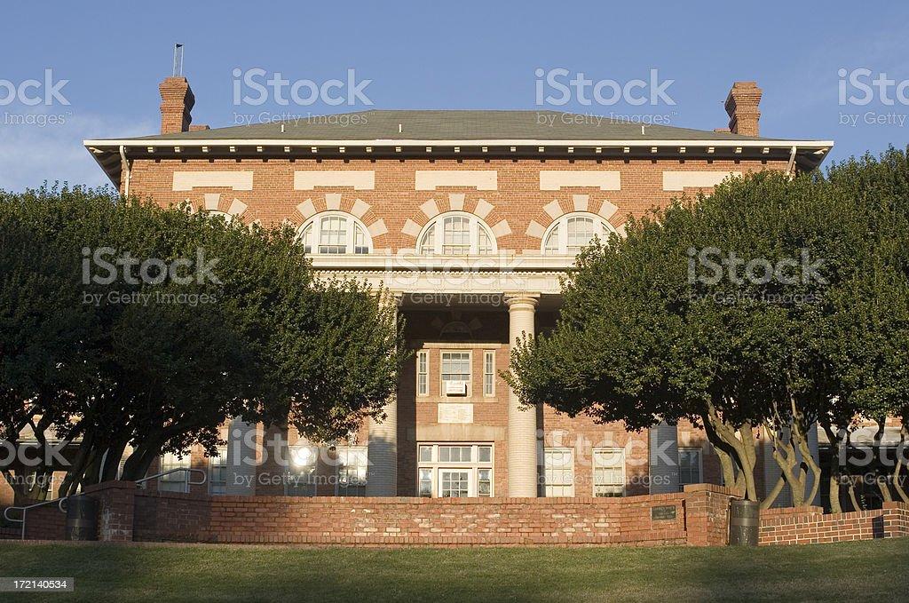 University Brick Building at Sunrise stock photo