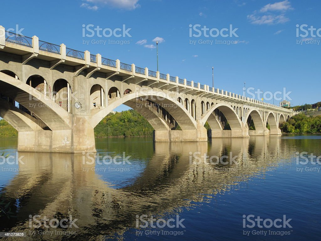University Bridge in Saskatoon stock photo