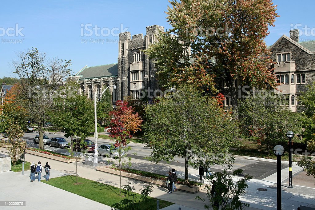 University Campus with gothic building stock photo