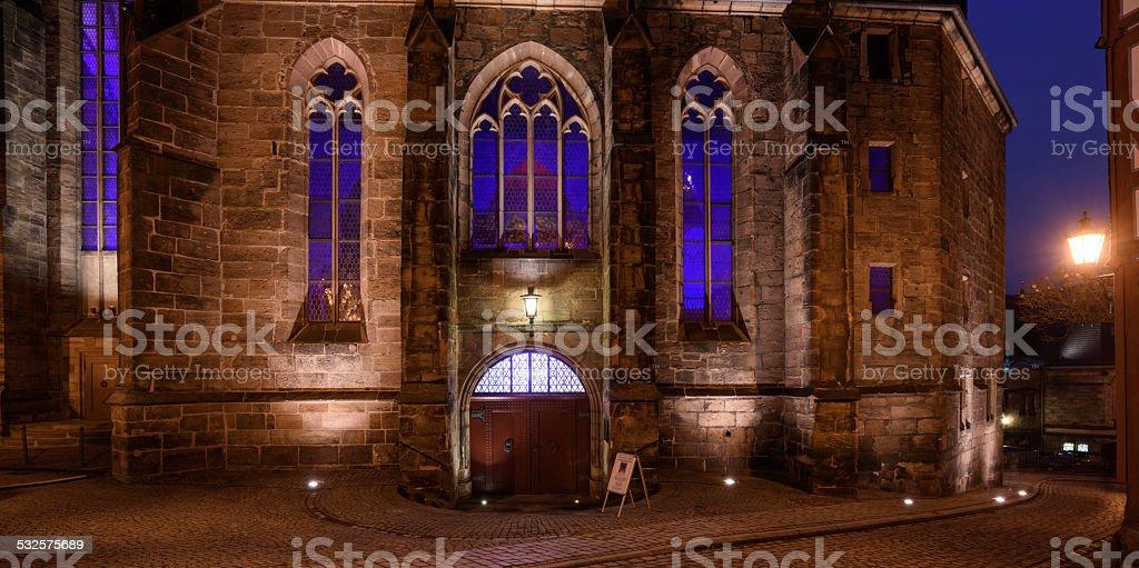 university church of Marburg at dusk stock photo