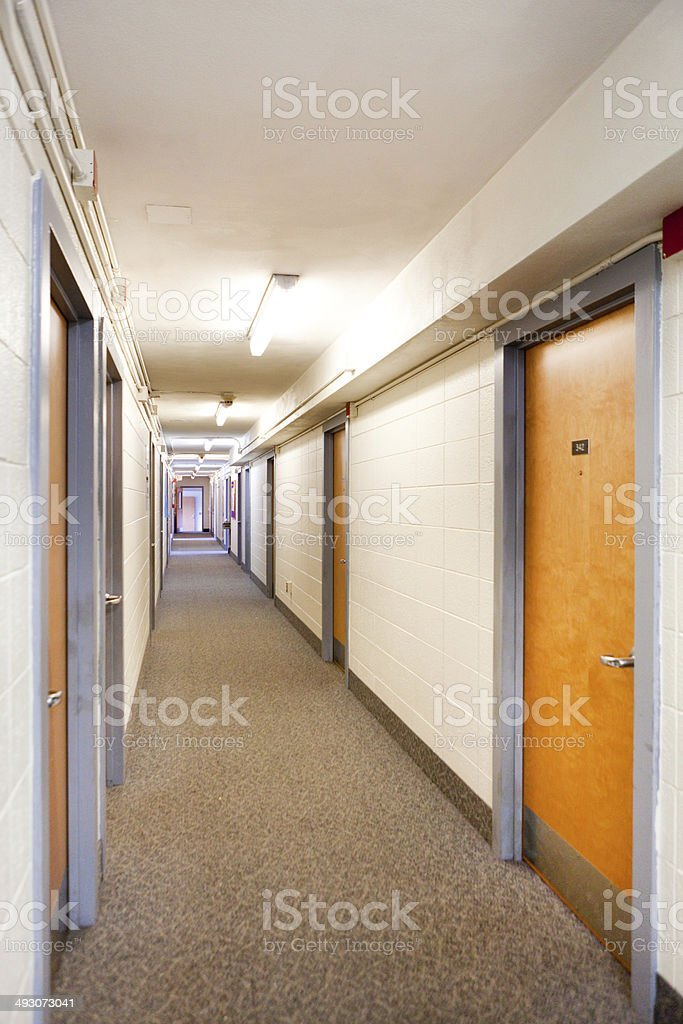 University Dormitory Floor Hallway royalty-free stock photo
