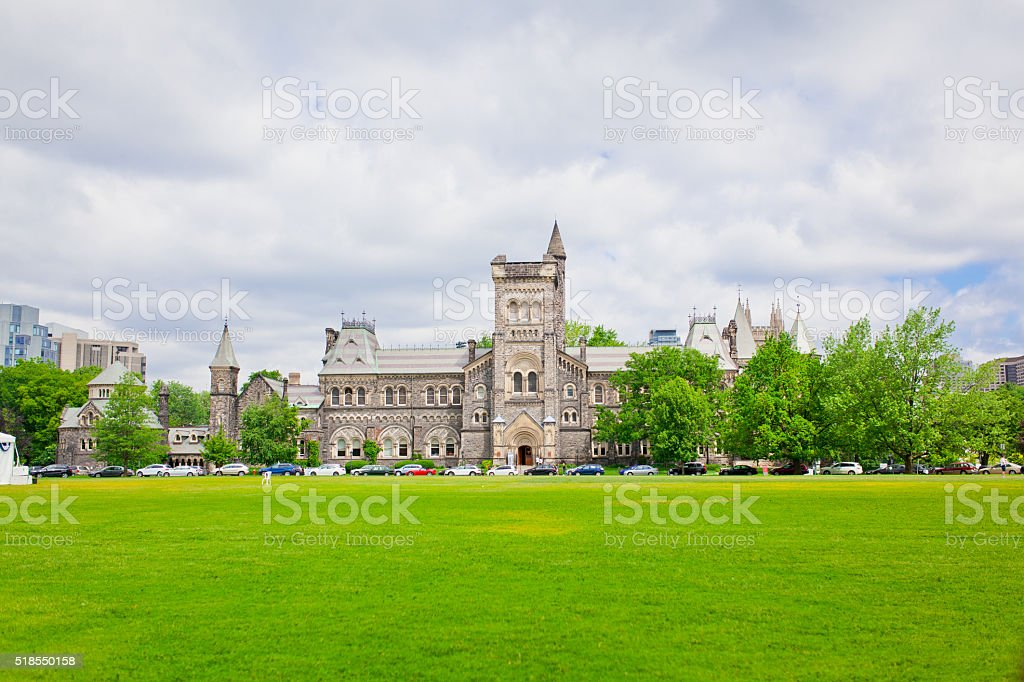 university hall with front lawn stock photo