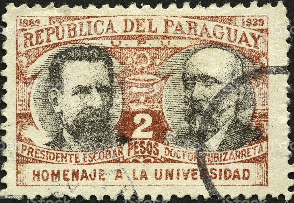 university leaders on a 1939 Paraguay postage stamp royalty-free stock photo