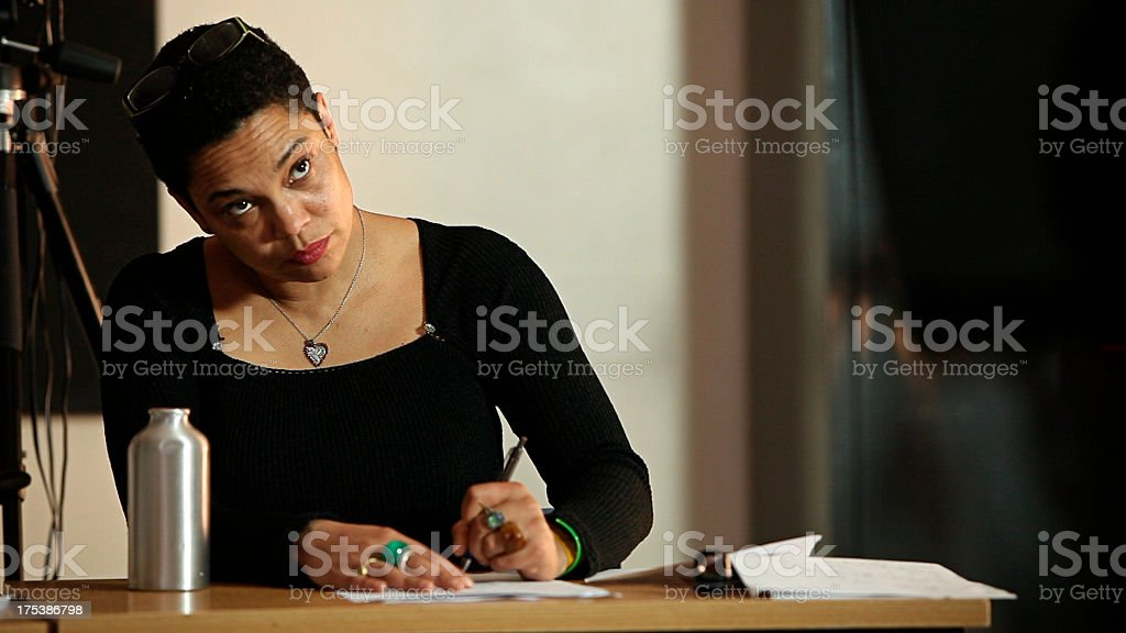 University lecturer taking notes royalty-free stock photo
