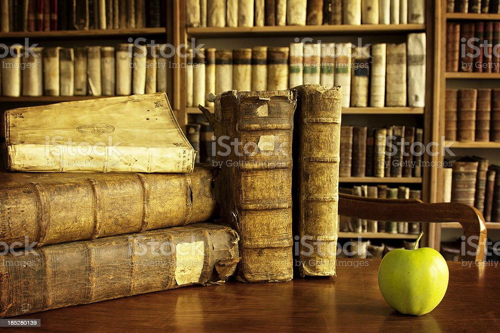 University library scene with an apple royalty-free stock photo
