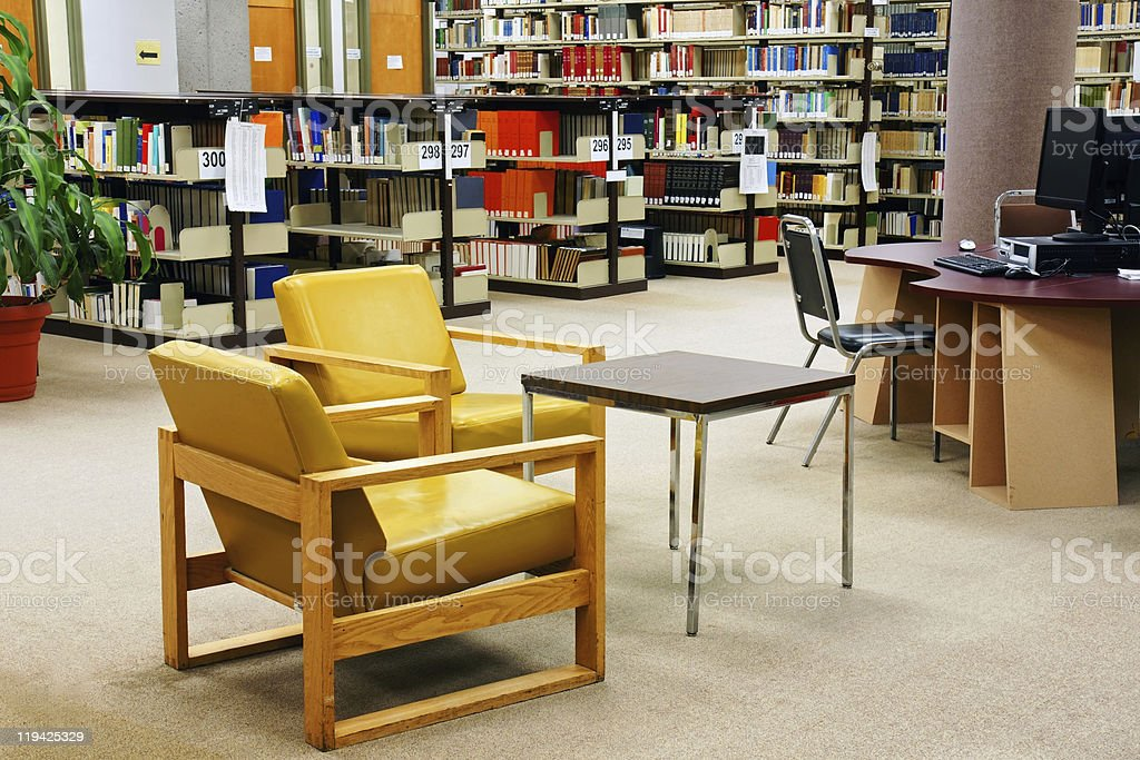 University library yellow chairs royalty-free stock photo