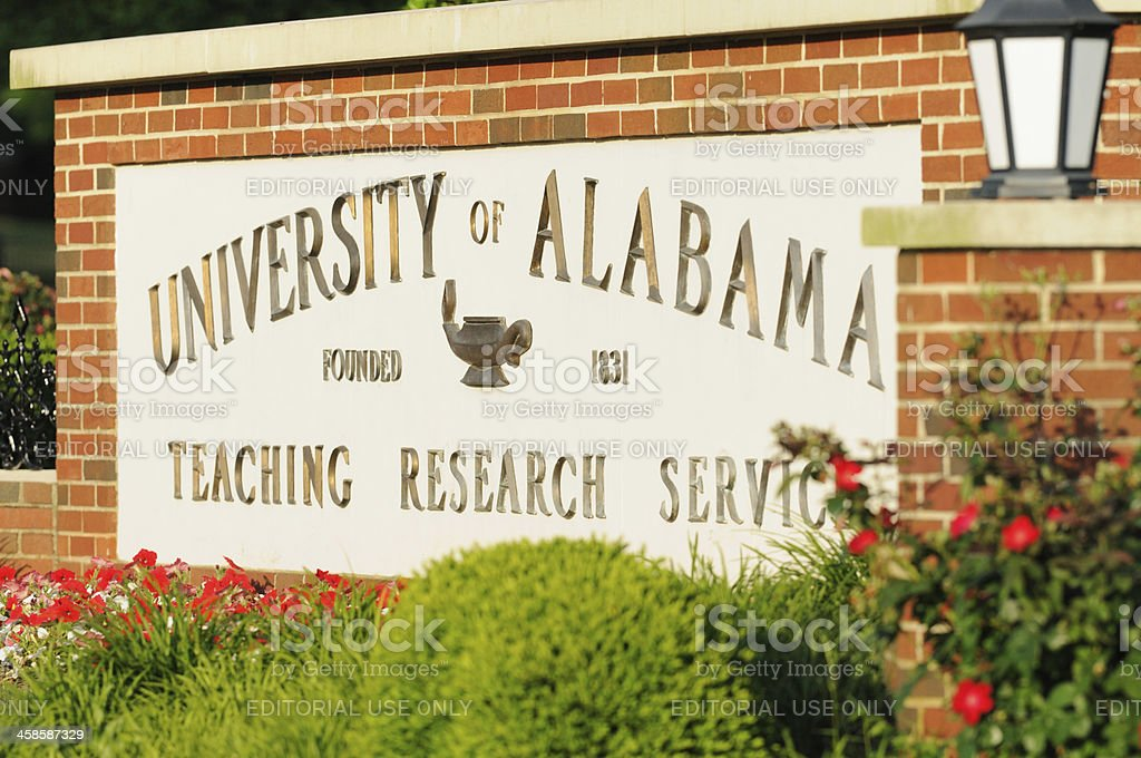 University of Alabama sign stock photo
