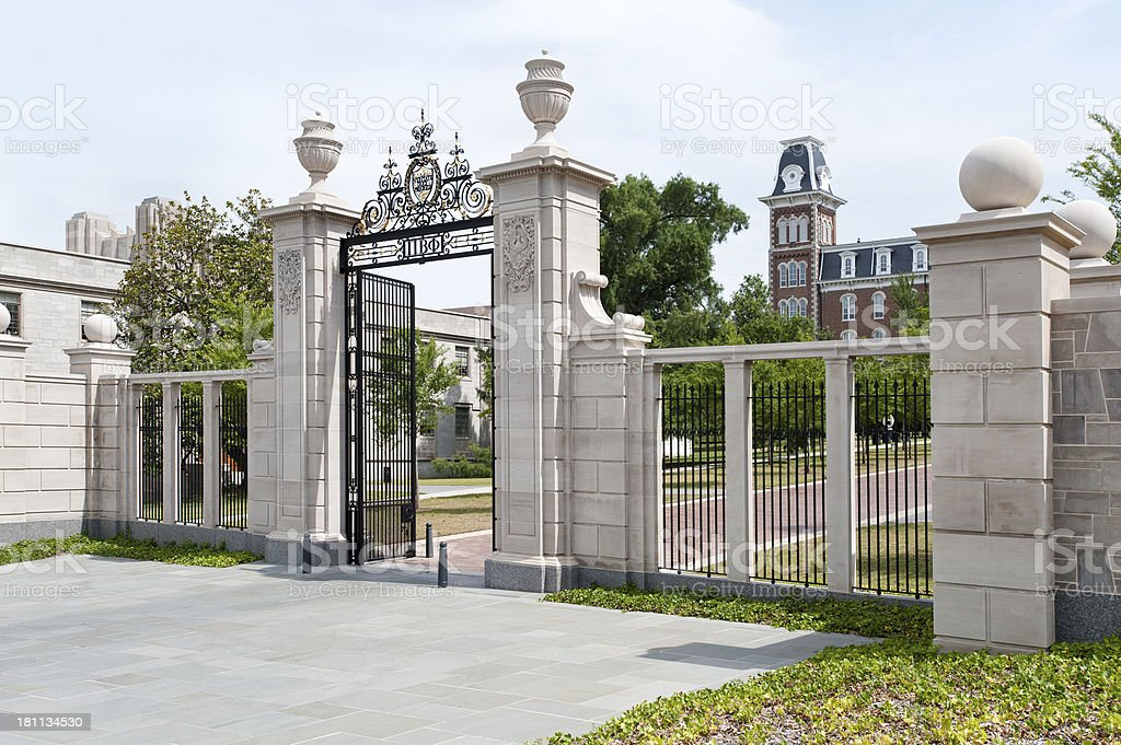 University of Arkansas Centennial Gate stock photo