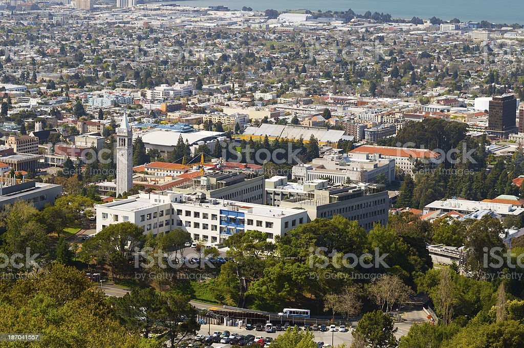 University of California, Berkeley Campus Aerial stock photo