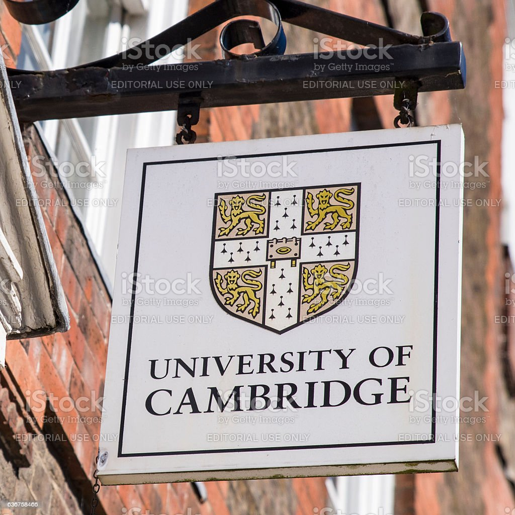 University of Cambridge Sign stock photo