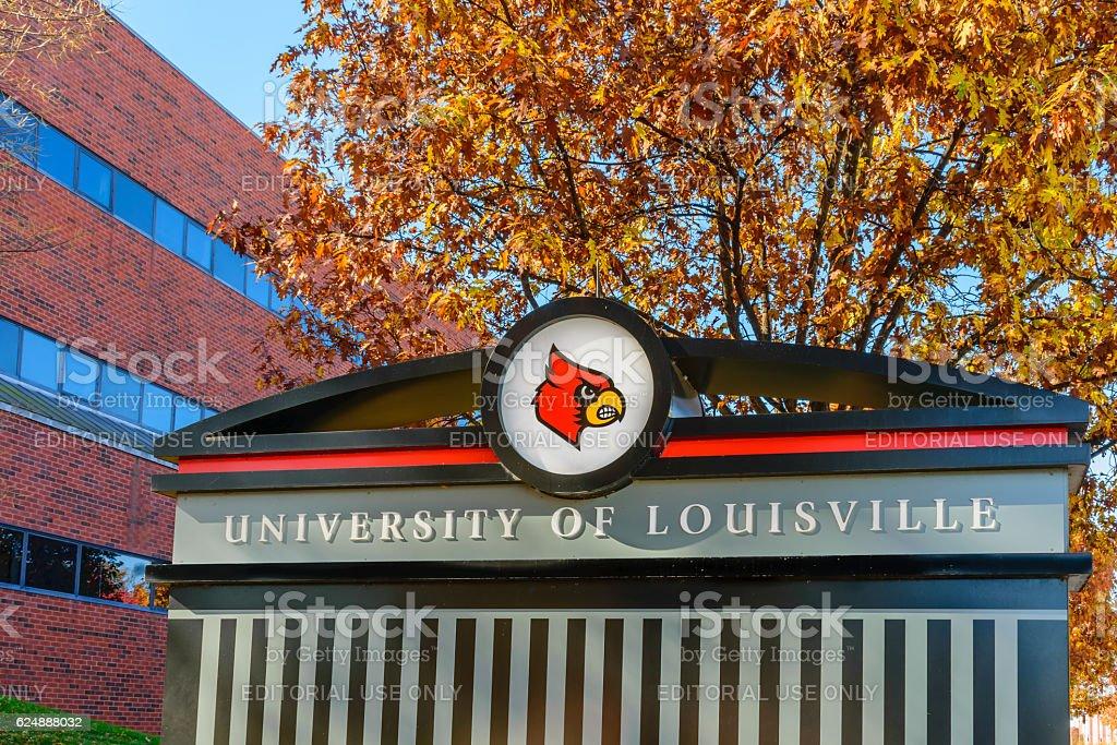 University of Louisville sign stock photo