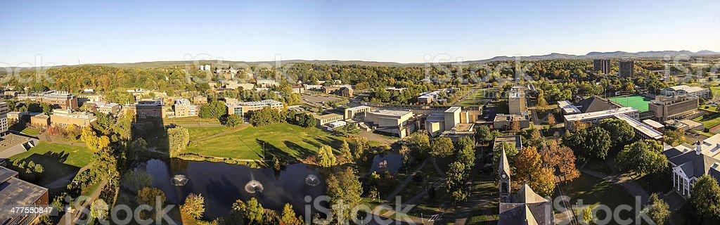 University of Massachusetts Panoramic in Fall stock photo