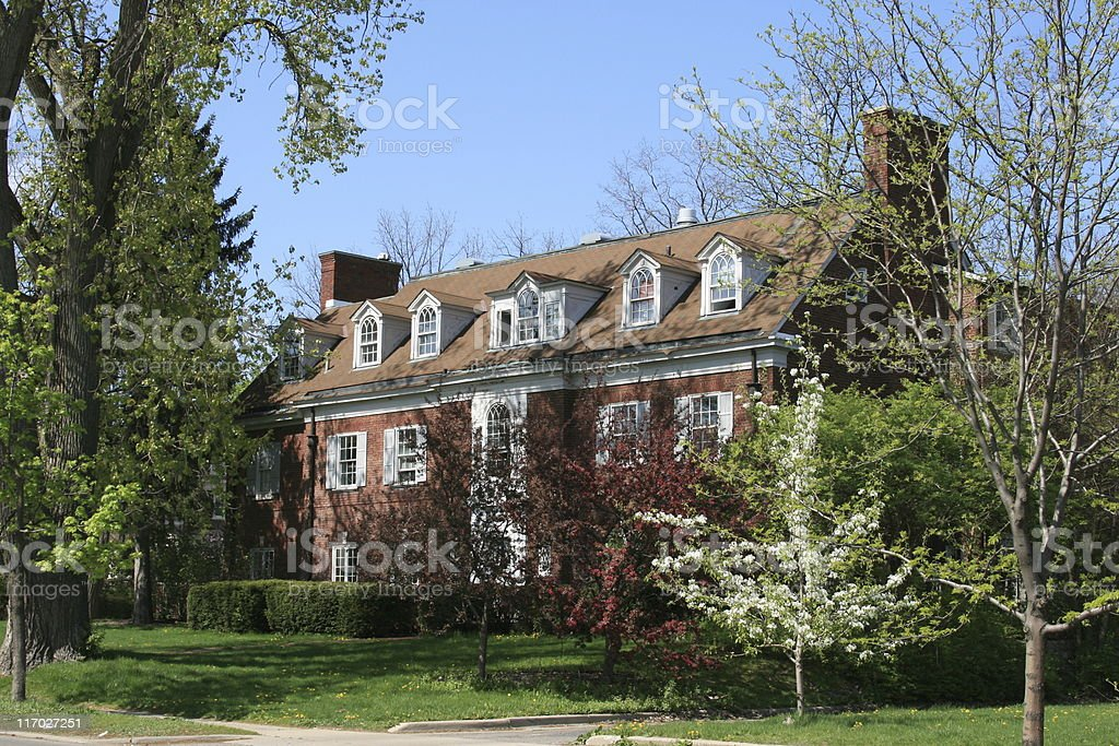 University of Michigan Sorority House, Ann Arbor. Clear blue sky. stock photo