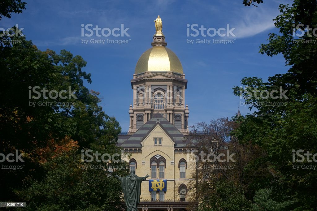 University of Notre Dame Main Building (The Golden Dome) stock photo