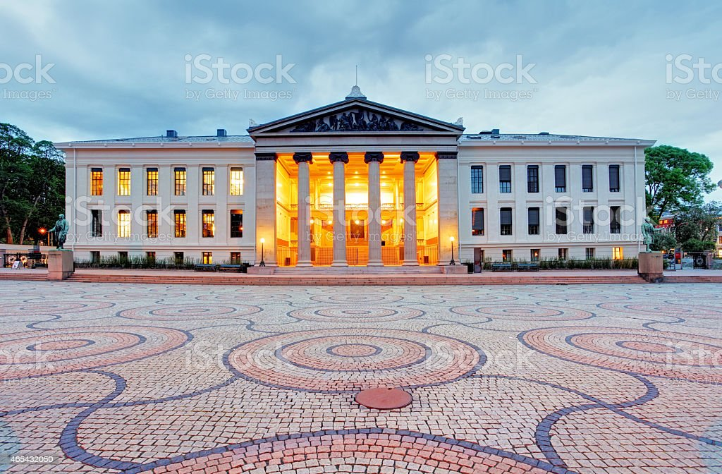 University of Oslo in Norway at night stock photo