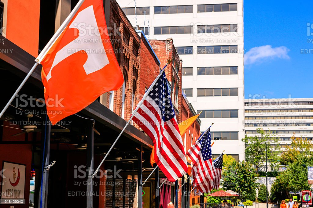 University of Tennessee and American flags in Market Square, Knoxville stock photo