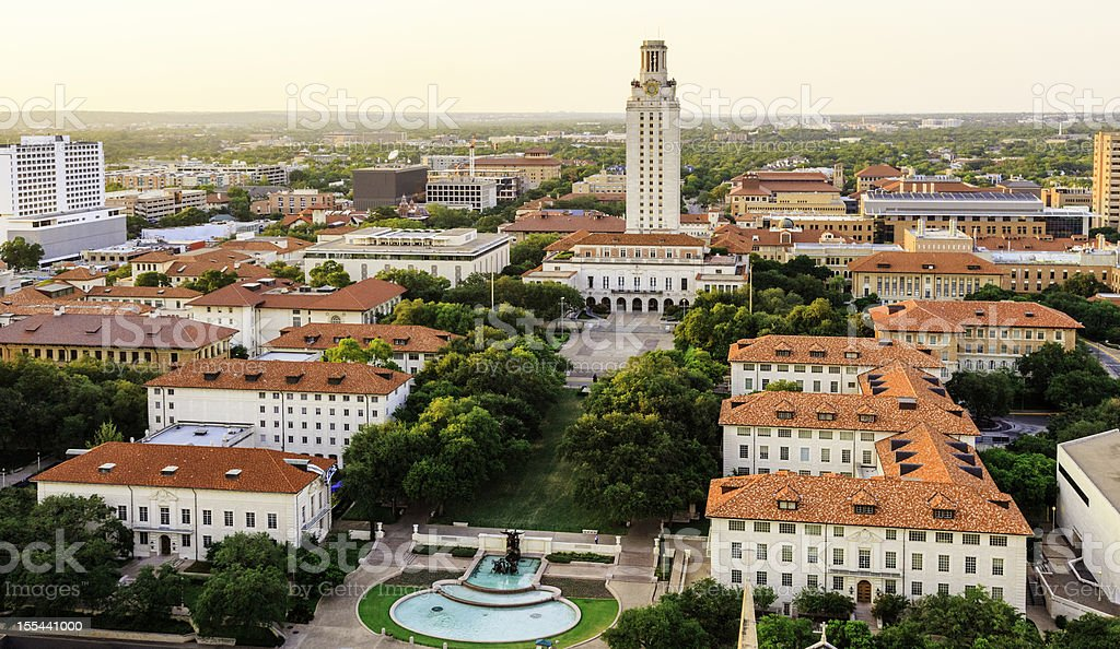 University of Texas Austin campus at sunset-dusk - aerial view stock photo