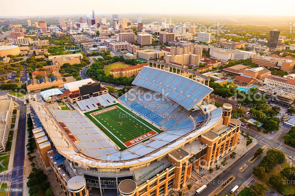 University of Texas Austin (UT) Longhorns Football Stadium aerial view royalty-free stock photo