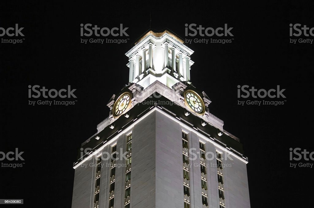 University of Texas Clock Tower At Night royalty-free stock photo
