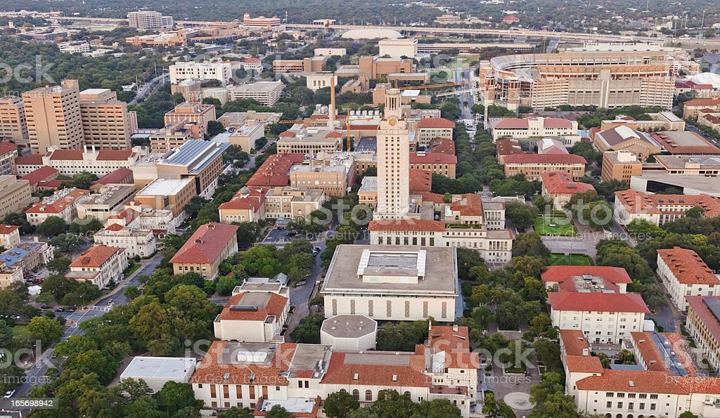 University of Texas UT Austin campus aerial view from Helicopter stock photo