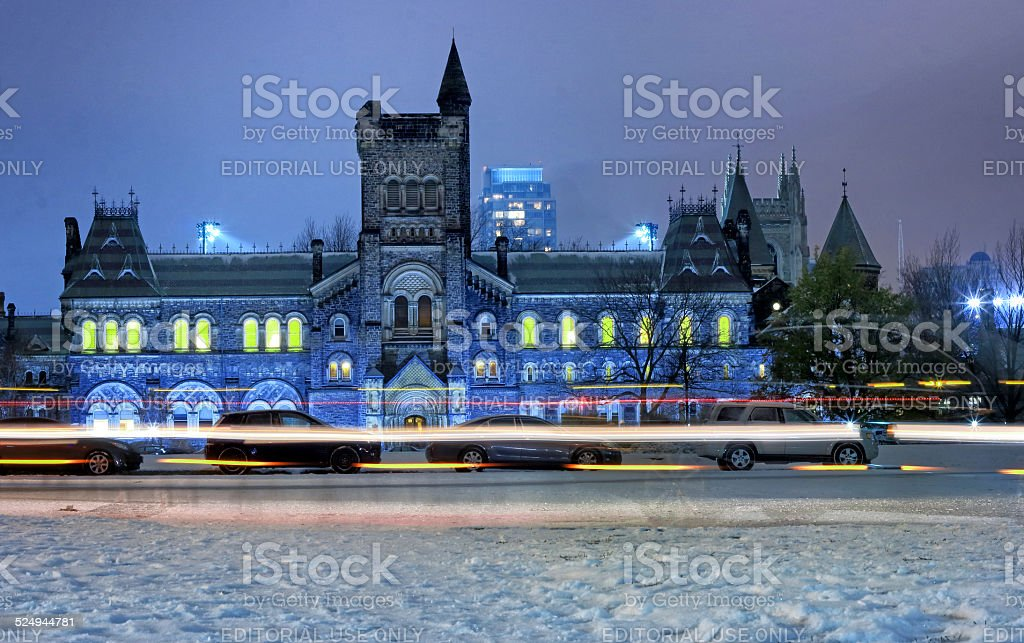 University of Toronto Winter Night stock photo